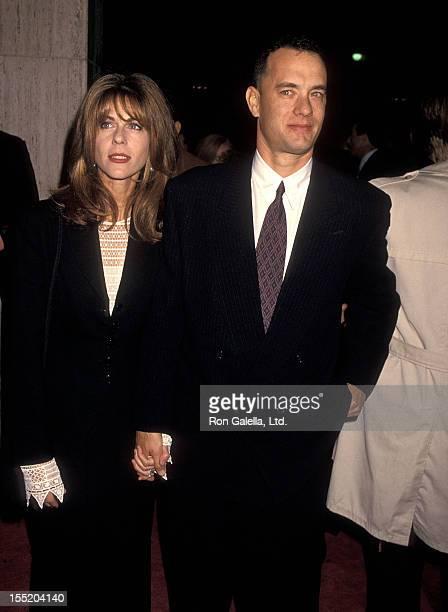 Actress Rita Wilson and actor Tom Hanks attend the 'Philadelphia' Century City Premiere on December 14 1993 at Cineplex Odeon Century Plaza Cinemas...