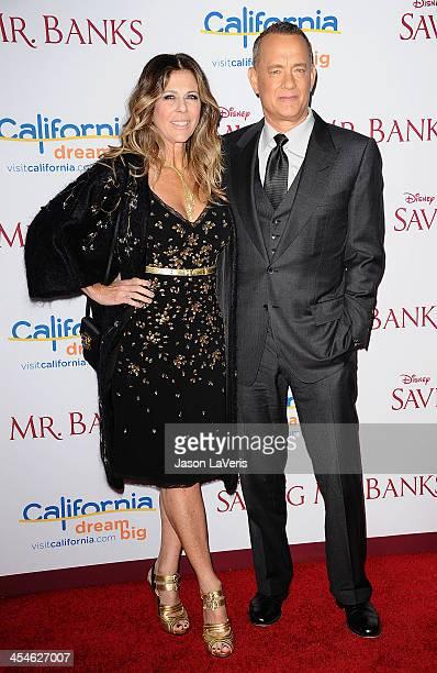 Actress Rita Wilson and actor Tom Hanks attend the premiere of Saving Mr Banks at Walt Disney Studios on December 9 2013 in Burbank California