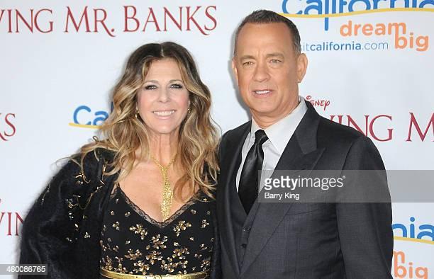 Actress Rita Wilson and actor Tom Hanks attend the premiere of 'Saving Mr Banks' on December 9 2013 at Walt Disney Studios in Burbank California