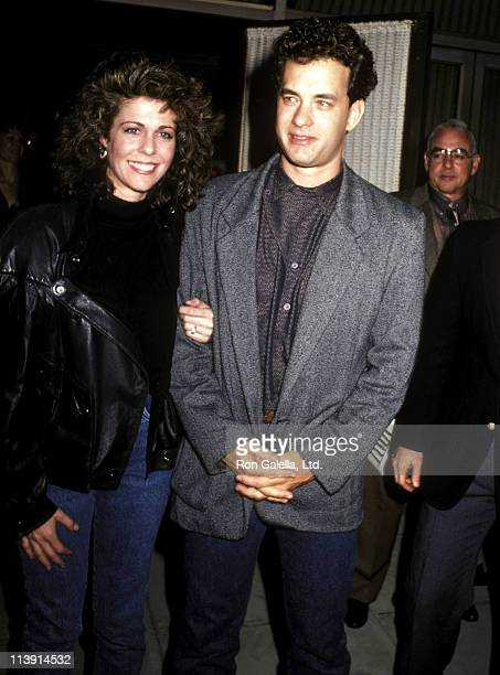 """Actress Rita Wilson and actor Tom Hanks attend the """"Three Amigos"""" Beverly Hills Premiere on December 10, 1986 at the Academy Theatre in Beverly..."""