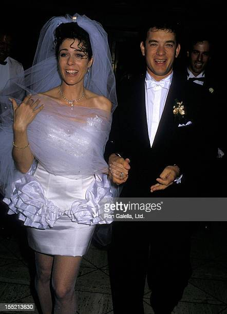 Actress Rita Wilson and actor Tom Hanks attend their wedding reception on April 30 1988 at Rex's in Los Angeles California
