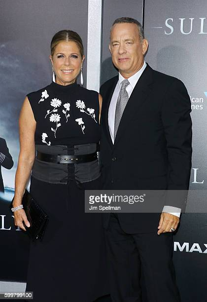 """Actress Rita Wilson and actor/director Tom Hanks attend the """"Sully"""" New York premiere at Alice Tully Hall, Lincoln Center on September 6, 2016 in New..."""
