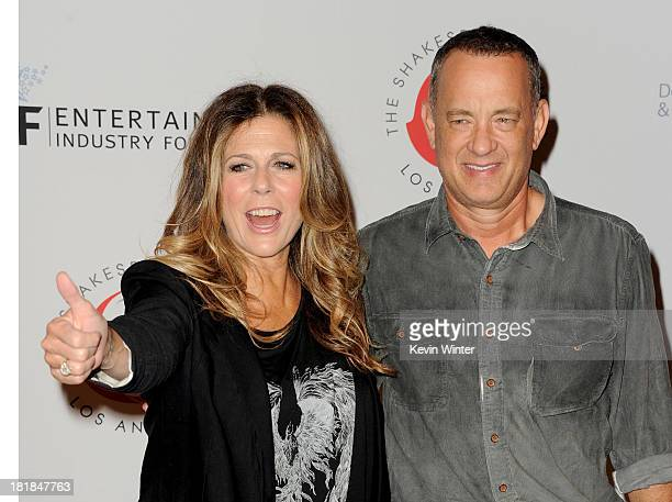 Actress Rita Wilson and husband actor Tom Hanks arrive at the 23rd Annual Simply Shakespeare Benefit reading of 'The Two Gentleman of Verona' at The...