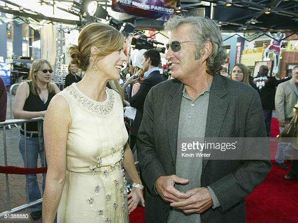 Actress Rita Wilson and New Lines' Bob Shaye talk at the premiere of New Lines' Raise Your Voice at the Loews Universal Theatre on October 3 2004 in...