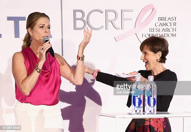 """Actress Rita Wilson and President of the Breast Cancer Research Foundation Myra J. Biblowit attend the """"Breast Cancer One"""" dinner hosted by Delta Air..."""