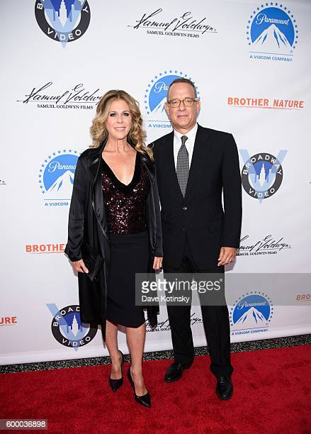 Actress Rita Wilson and Tom Hanks attend the 'Brother Nature' New York Premeire at Regal EWalk 13 on September 7 2016 in New York City