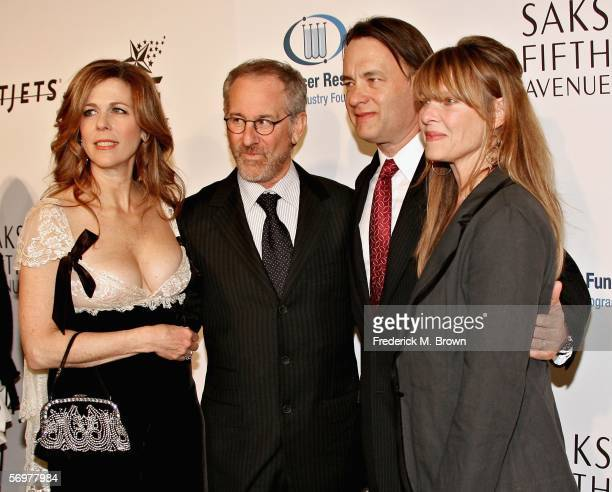Actress Rita Wilson director Steven Spielberg actor Tom Hanks and actress Kate Capshaw arrive at EIF's Women's Cancer Research Fund honoring Melissa...