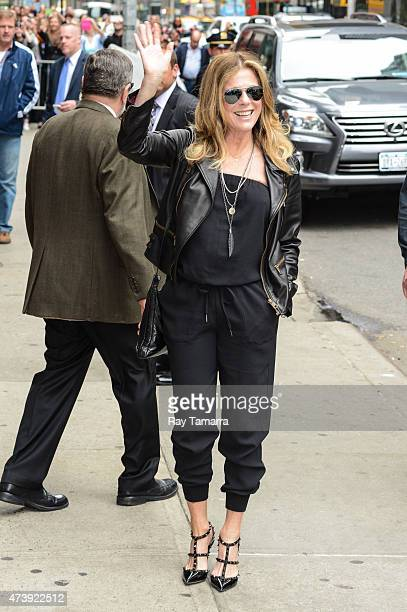"""Actress Rita Wilson enters the """"Late Show With David Letterman"""" taping at the Ed Sullivan Theater on May 18, 2015 in New York City."""