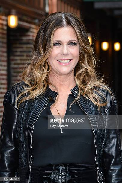 Actress Rita Wilson leaves the Late Show With David Letterman taping at the Ed Sullivan Theater on April 8 2013 in New York City