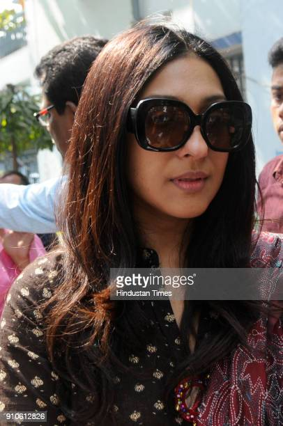 Actress Rituparna Sengupta during the last rites of veteran Bengali actress Supriya Choudhury on January 26 2018 in Kolkata India Supriya Devi died...