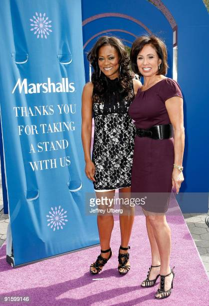 Actress Robin Givens and Judge Jeanine Pirro promote Domestic Violence Awareness Month in Union Square on October 8 2009 in New York City