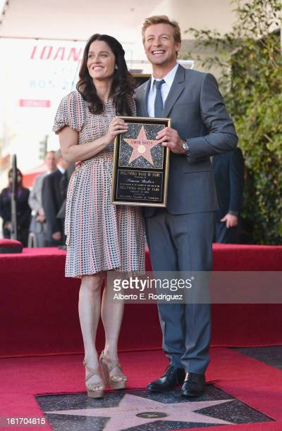 Actress Robin Tunney and actor Simon Baker attend a ceremony honoring Simon Baker with the 2490th Star on The Hollywood Walk of Fame on February 14...