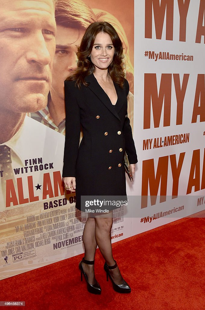 Actress Robin Tunney attends the premiere of Clarius Entertainment's 'My All American' at The Grove on November 9, 2015 in Los Angeles, California.