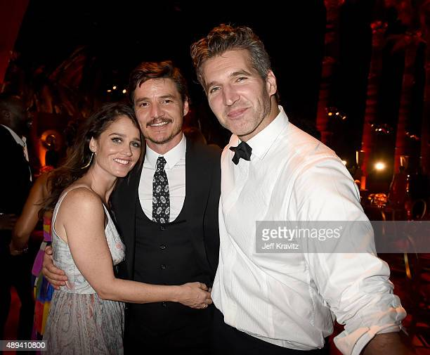 Actress Robin Tunney Pedro Pascal and David Benioff attend HBO's Official 2015 Emmy After Party at The Plaza at the Pacific Design Center on...