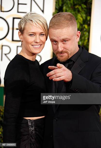 Actress Robin Wright and actor Ben Foster attend the 72nd Annual Golden Globe Awards at The Beverly Hilton Hotel on January 11 2015 in Beverly Hills...