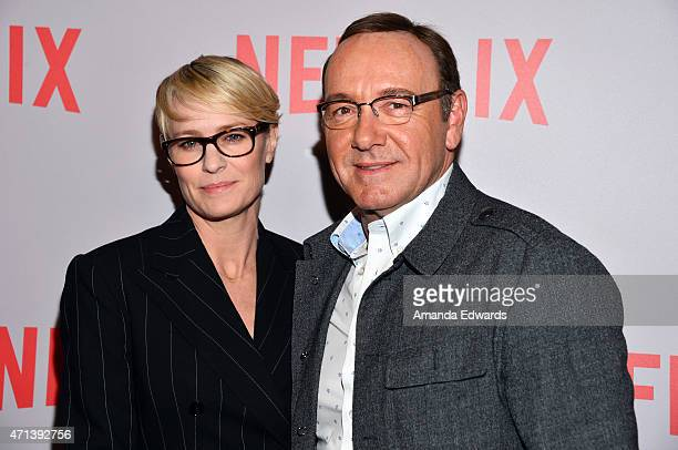 Actress Robin Wright and actor Kevin Spacey attend Netflix's 'House Of Cards' QA screening event at the Samuel Goldwyn Theater on April 27 2015 in...