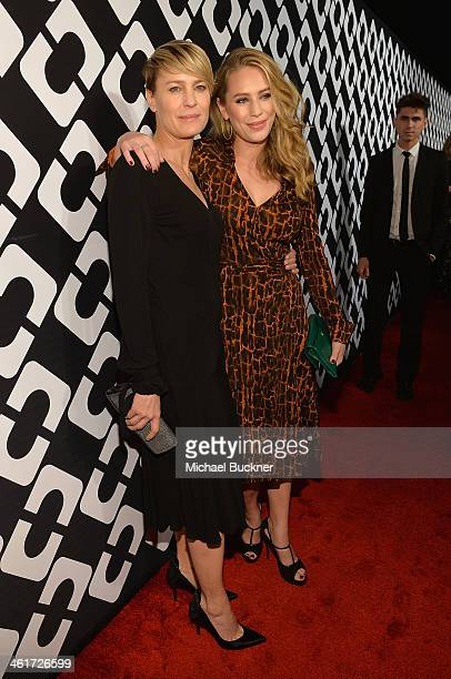 Actress Robin Wright and Dylan Penn attend Diane Von Furstenberg's Journey of A Dress Exhibition Opening Celebration at May Company Building at LACMA...