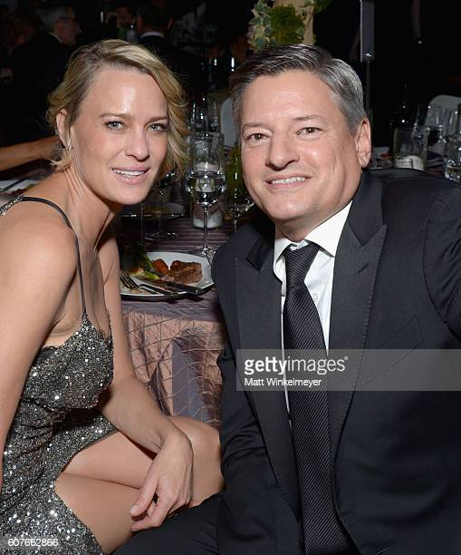 Actress Robin Wright and Netflix CCO Ted Sarandos attend the 68th Annual Primetime Emmy Awards Governors Ball at Microsoft Theater on September 18...