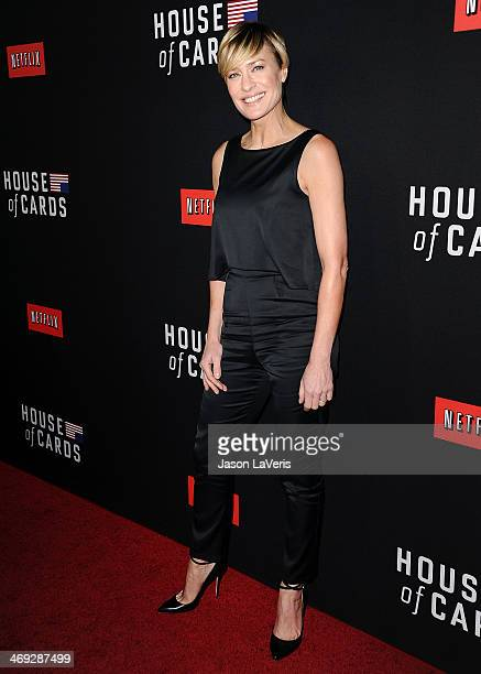 Actress Robin Wright attends a screening of 'House Of Cards' at Directors Guild Of America on February 13 2014 in Los Angeles California