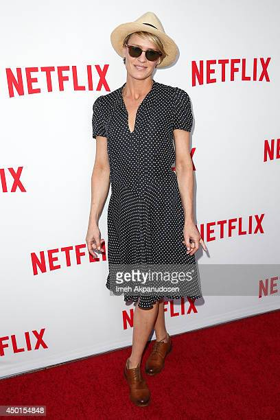Actress Robin Wright attends Netflix's Academy Panel 'Women Ruling TV' at Leonard H Goldenson Theatre on June 5 2014 in North Hollywood California
