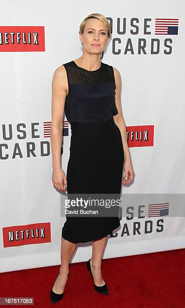 Actress Robin Wright attends Netflix's House Of Cards For Your Consideration QA Event at Leonard H Goldenson Theatre on April 25 2013 in North...