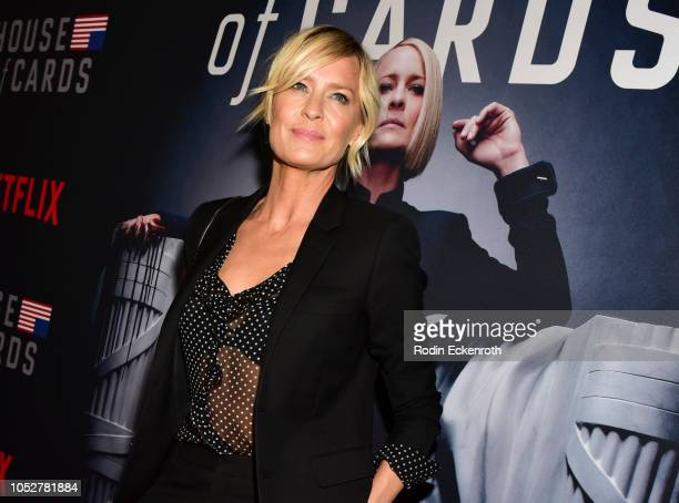 "Actress Robin Wright attends the Los Angeles premiere screening of Netflix's ""House of Cards"" Season 6 at DGA Theater on October 22, 2018 in Los..."