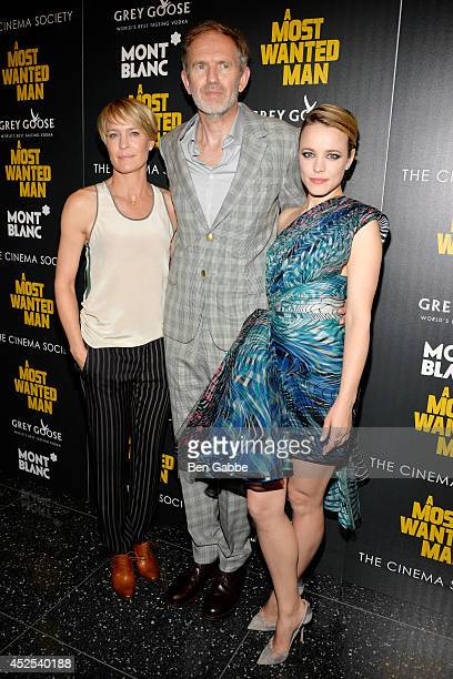 Actress Robin Wright director Anton Corbijn and actress Rachel McAdams attend Lionsgate and Roadside Attraction's premiere of 'A Most Wanted Man'...