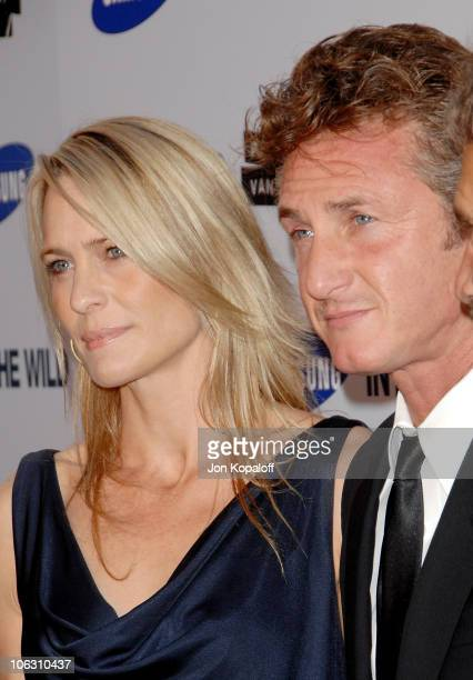 Actress Robin Wright Penn and actor Sean Penn arrive at the Los Angeles Premiere Into The Wild at the Directors Guild of America on September 18 2007...