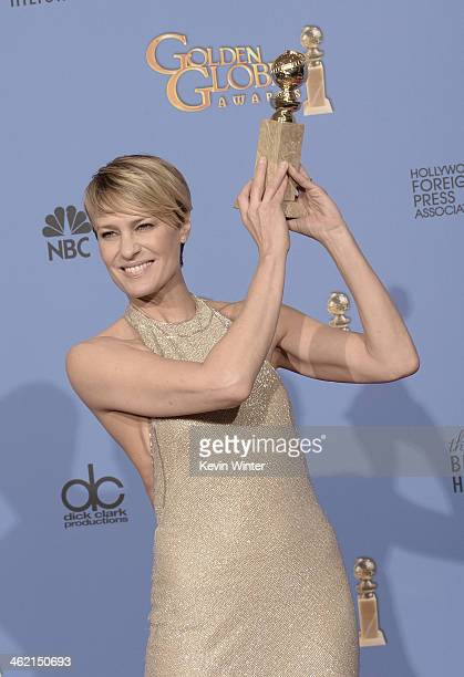 Actress Robin Wright winner of Best Actress in a Television Series Drama for 'House of Cards' poses in the press room during the 71st Annual Golden...