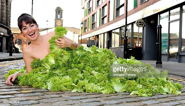 Actress Rokhsaneh Ghawam-Shahidi wears a dress made entirely of lettuce leaves, to encourage people to go vegan, in aid of PETA at Leeds Corn...