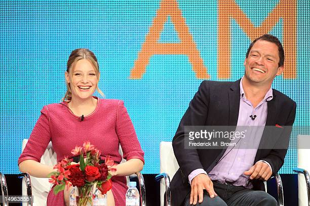 Actress Romola Garai and actor Dominic West speak at the 'The Hour' discussion panel during the BBC America portion of the 2012 Summer Television...