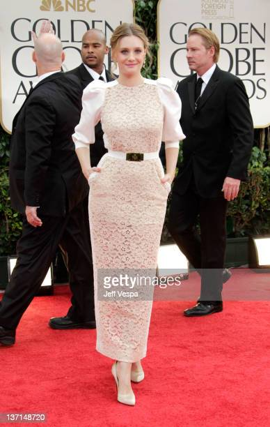 Actress Romola Garai arrives at the 69th Annual Golden Globe Awards held at the Beverly Hilton Hotel on January 15 2012 in Beverly Hills California