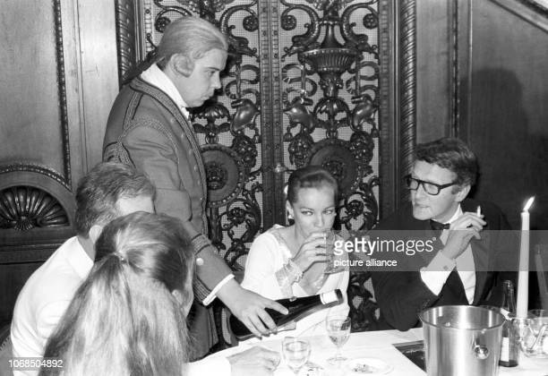 Actress Romy Schneider and husband Harry Meyen On the night of Sunday June 23 a midnight wine tasting took place at the Schlosshotel Gerhus im...