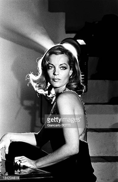 Actress Romy Schneider on the set of 'Dirty hands' 'Les innocents aux mains sales' by Claude Chabrol in 1974 in France