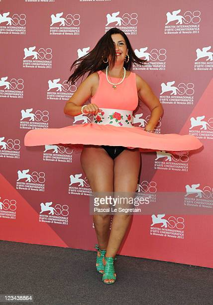 Actress Rona Hartner poses at the Poulet Aux Prunes photocall during the 68th Venice Film Festival at Palazzo del Cinema on September 3 2011 in...