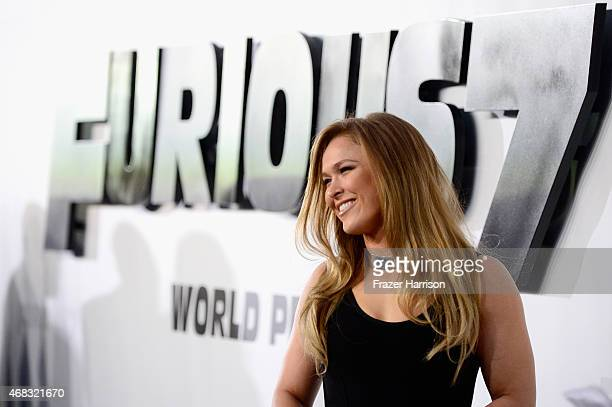 Actress Ronda Rousey arrives at Universal Pictures Premiere of 'Furious 7'' at the TLC Chinese Theatre Hollywood on April 1 2015 in Los AngelesCA