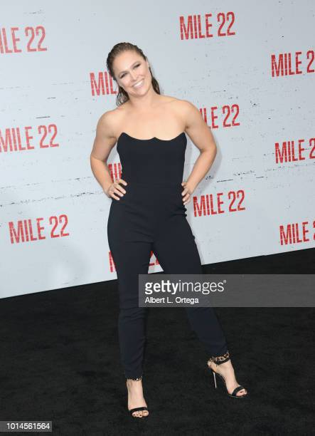 Actress Ronda Rousey arrives for the Premiere Of STX Films' 'Mile 22' held at Westwood Village Theatre on August 9 2018 in Westwood California