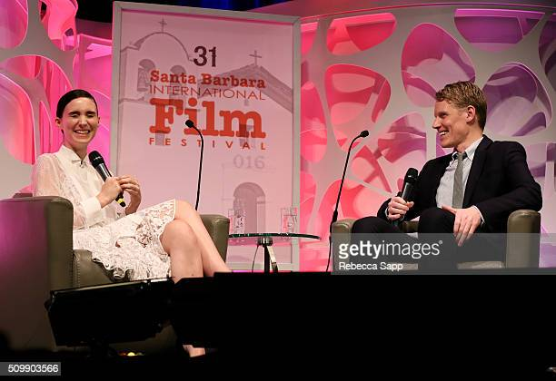 Actress Rooney Mara and Moderator Joe McGovern speak at the Cinema Vanguard Award at the Arlington Theater during the 31st Santa Barbara...