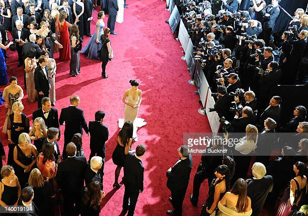 Actress Rooney Mara arrives on the red carpet of the 84th Annual Academy Awards at the Kodak Theatre on February 26 2012 in Hollywood California