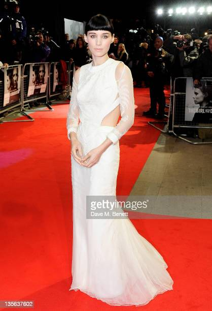 Actress Rooney Mara attends the World Premiere of 'The Girl With The Dragon Tattoo' at Odeon Leicester Square on December 12 2011 in London England