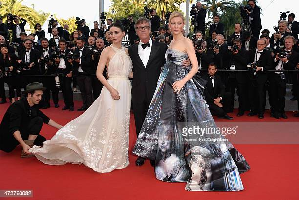 Actress Rooney Mara director Todd Haynes and actress Cate Blanchett attend the 'Carol' Premiere during the 68th annual Cannes Film Festival on May 17...
