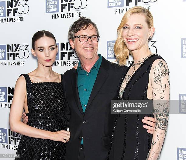 Actress Rooney Mara film director Todd Haynes and actress Cate Blanchett attend 53rd New York Film Festival 'Carol' at Alice Tully Hall on October 9...