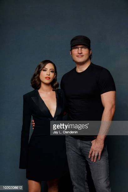 Actress Rosa Salazar and director Robert Rodriguez from 'Alita' are photographed for Los Angeles Times on July 20 2018 in San Diego California...