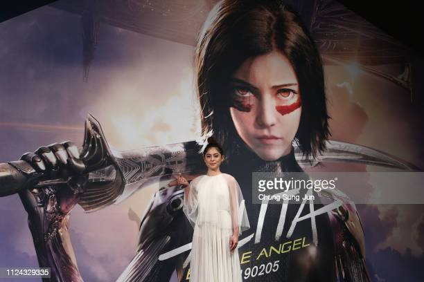 Actress Rosa Salazar poses during the press conference for 'Alita Battle Angel' South Korea premiere on January 24 2019 in Seoul South Korea