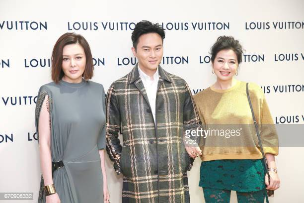 Actress Rosamund Kwan actor Julian Cheung Chilam and actress Cherie Chung attend the opening ceremony of Louis Vuitton flagship store on April 20...