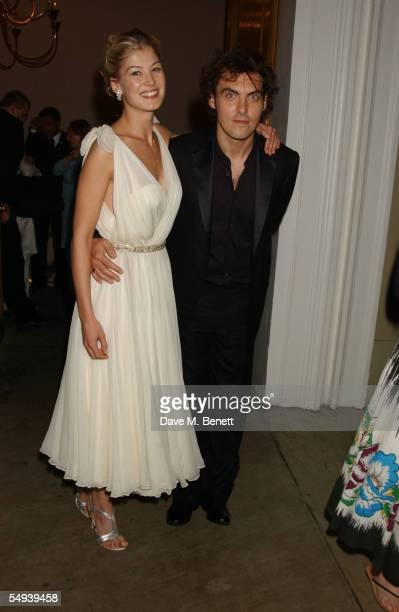 Actress Rosamund Pike and director Joe Wright attend the after show party following the UK premiere of the film Pride Prejudice at the Banqueting...