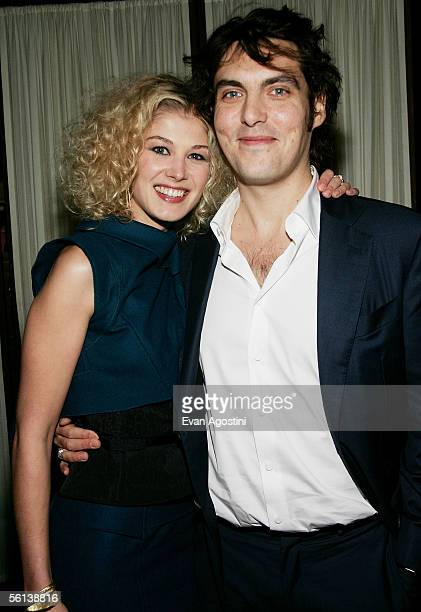 Actress Rosamund Pike and director Joe Wright attend the Pride Prejudice premiere after party at the Loeb Boathouse November 10 2005 in New York City
