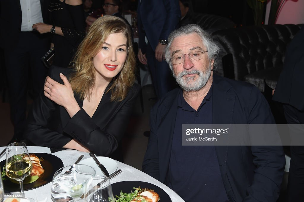Actress Rosamund Pike and Oscar Award Winning Actor Robert De Niro attend the exclusive gala event 'For the Love of Cinema' during the Tribeca Film Festival hosted by luxury watch manufacturer IWC Schaffhausen on April 20, 2017 in New York City.