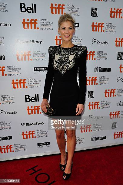 Actress Rosamund Pike attends 'Barney's Version' Premiere during the 35th Toronto International Film Festival at Roy Thomson Hall on September 12...
