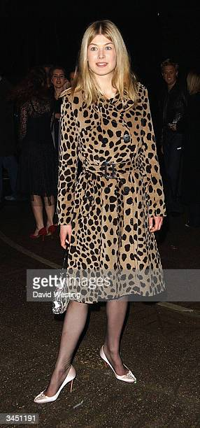 Actress Rosamund Pike attends the afterparty following the UK Premiere of Quentin Tarantino's 'Kill Bill Volume 2' at the In and Out Club on April 20...